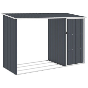 Garden Firewood Shed Anthracite Galvanised Steel Outdoor Timber Storage