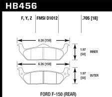 Disc Brake Pad Set-XL Rear Hawk Perf HB456F.705