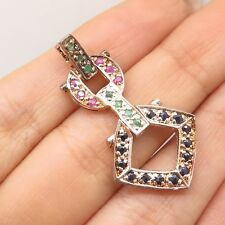 925 Silver Real Ruby Sapphire Emerald Gemstone Geometric Slide Pendant