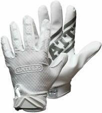 Battle Triple Threat Adult Receiver Gloves, White, Small