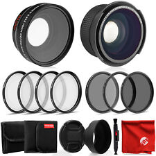 Opteka 0.35X HD Fisheye Lens w/ Adapters & 58mm 0.43X HD Wide Angle Lens - Canon