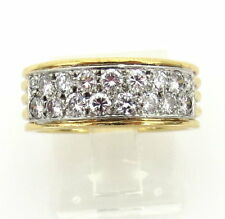 DAVID WEBB DIAMOND  PLATINUM 18KT. GOLD WEDDING BAND STYLE RING