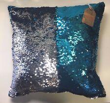 US) Aqua Blue / Silver Sequin Pillow Mermaid Magic Glitter Reversible  16'' #11