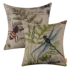 Set of 2 French Country Dragonfly Cushion Cover Botanical Leaf Bee Pillow Case