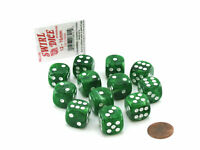 Case with 12 16mm Glow in the Dark Dice Lime Color with White Pips