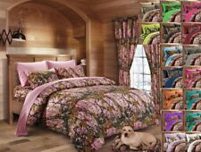 12 PC SET!! QUEEN PINK CAMO BEDDING CURTAINS COMFORTER SHEET CAMOUFLAGE WOODS