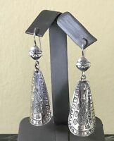 RARE SILPADA Long Curved Etched Symbols .925 Sterling Silver Earrings W1770 HTF