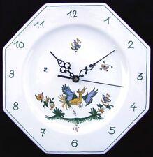 Horloge pendule murale Assiette octogonale en FAIENCE de MOUSTIERS peint main