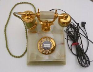 Retro Telefon Onyx Marmor Vintage Drehscheibe Metall Gold Vergoldet