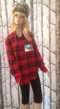 Red tartan chiffon shirt with sheep motif