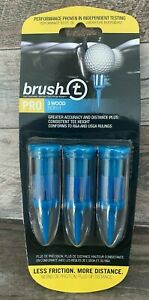"""Brush-T Pro Golf Tees Blue 3 Wood (1pk of 3) """"Less Friction More Distance"""""""