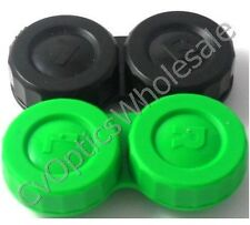 2x Contact Lens Soaking Storage Case Black/Green