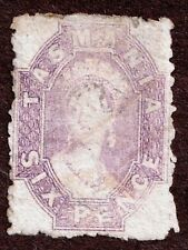Tasmania 32 6d QV  Lilac Rouletted Used
