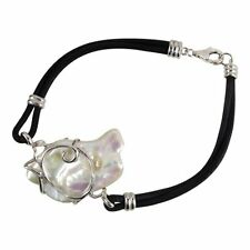 Natural Freshwater Pearl Sterling Silver Swirl Black Leather Rope Bracelet