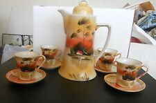 circa 1920's Chocolate or Coffee Pot + 4 Cups & Saucers Hand painted in Japan