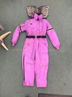 Vintage 60s 70s Arctic Cat Snowmobile Snow Suit Black leopard Purple Mens Size L