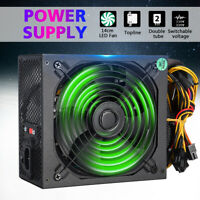 PC Power Supply Quiet ATX Gaming PSU + LED Fan for Desktop Computer AU