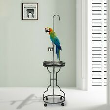 72'' Wood Bird Parrot Play Stand Rack Rolling Macaw Perch with Feeder &Tray