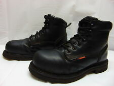 5614 WORX Mens 7  Womens 9 Black Leather Steel Toe Safety Work Ankle Boots
