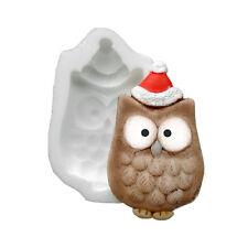 Silicona Molde-Xmas Owl-Plana respaldado Mini Escultura-alimentos seguros