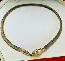 VINTAGE ART DECO ROLLED GOLD SNAKE/SERPENT OUROBOROS NECKLACE