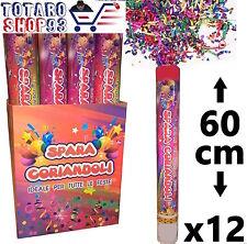 12 SPARA CORIANDOLI COLORATI TUBO CANNONE 60 cm FESTA MATRIMONIO PARTY CAPODANNO