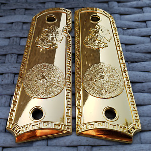 Colt 1911 Custom Grips Gold plated 1911 full size grips Aztec Eagle gloss gold