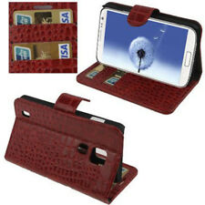 Book Tasche Croco Style für Samsung i9500 Galaxy S4 in rot Hülle Case Cover