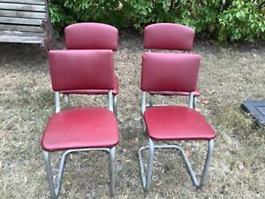 Vintage mid century set of 4 dinette kitchen chairs red MCM Chrome