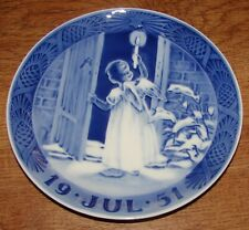 "Royal Copenhagen 1951 Christmas Plate ""Angel Holding A Candle Opens A Door"""