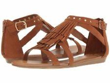 "NIB Strappy Flat Cognac Brown FERGALICIOUS ""Dusty"" Fringe Shoe Sandals, Sz 11"