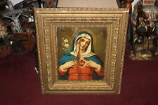 Antique Mother Mary Religious Christianity Print-Gilded Wood Frame-Crying Tears