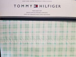 NEW TOMMY HILFIGER MINT GREEN WHITE PLAID 3 PIECE TWIN SHEET SET