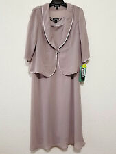 Dana Kay Womens Dress Set Size 18W Gray Long Formal Dress & Sheer Top Jacket