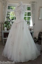 BALLERINA WEDDING GOWN DRESS IVORY PINK FLORAL BEADED BNWOT - Size 12
