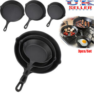 3 Piece Cast Iron Pan Set Frying Griddle Barbecue Grill BBQ Skillet Pre-Seasoned