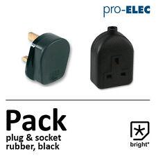 13 amp in gomma Plug & Presa 13a Heavy Duty RETE ELETTRICA 3pin NERO -