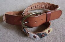 DELIA'S BELT~PECAN LEATHER/FABRIC LOOPS~STYLE 157367~M/L~BRONZE BUCKLE~ONE FLAW