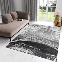 Teppich Kurzflor Paris Grau Eiffelturm Modern Rechteckig Designer Wohnzimmer NEU