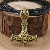 Thor's Hammer Mjolnir Pendant Viking Norse Necklace With Stainless Steel chain