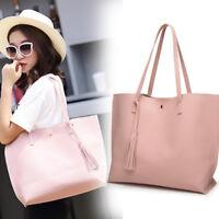 Fashion Women Girls Tassels Leather Bag Shopping Handbag Shoulder Tote Bag
