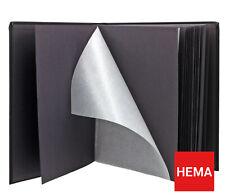 Hema Foto Album Heft Stoff Schwarz mit Einlage Papier Schwarz 31x28cm 100 Blatt