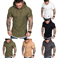 Men Short Sleeve T-shirt Fitness Workout Gym Hooded Hoodie Muscle Tee Top Summer