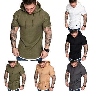 Mens Short Sleeve Hooded Solid T Shirt Hoody Casual Hoodie Gym Sport Top Blouse