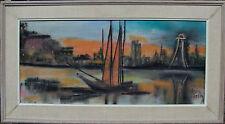Louis Zelig 1922-1993, Segelboot vor abendl. Stadtkulisse, Mischtechnik, um 1960