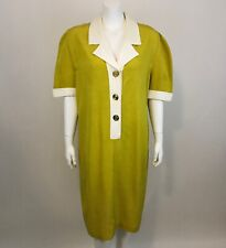 Vintage Shift Dress Womens 16 Virgo II Yellow Short Sleeve Wide Pointy Collar