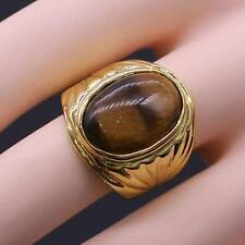 Fashion Tigers Eye Big Ring For Women/Men 24K Yellow Gold Plated Ring Size 9