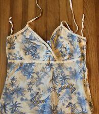 Lilu Girls Tropic Designs Blue  Side Zipper Tank  Top Girls Size M  EUC