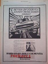 HARD STUFF Bolex Dementia 1973 UK Poster size Press ADVERT 16x12 inches  Purple