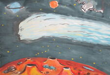 Vintage surrealist fantasy watercolor drawing outer space signed